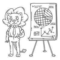 Lion teacher with a board on a tripod. vector