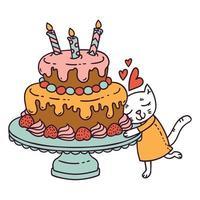 gato con pastel de cumpleaños. vector