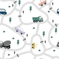 City map pattern with roads, cars, trucks, trees, traffic lights. vector