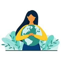 Woman hugs planet Earth with love and care. Save the planet concept. vector