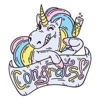 Unicorn with glass of champagne. vector