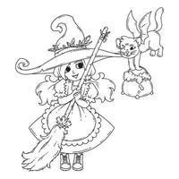 una pequeña bruja con una escoba, un gato y una olla. vector