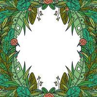 hermosa tarjeta de felicitación con marco floral de dibujos animados. vector