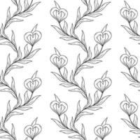 Seamless floral black and white pattern. vector