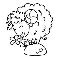 Sheep with a flower. vector