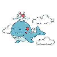 A whale with wings in the sky with hearts. vector