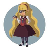 triste chica rubia con un traje retro. mujer en traje steampunk. vector