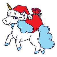 Christmas unicorn with a santa hat and a bag of gifts. vector