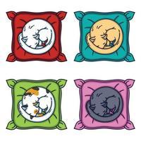 Cute cat sleeping on a pillow. Set cats. vector