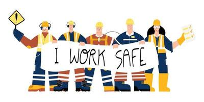 Construction Industrial Workers with I work safe sign vector