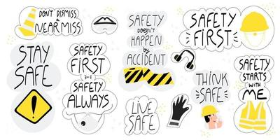 Safety hand drawn lettering set vector