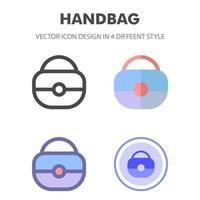 diseño de icono de bolso en 4 estilos diferentes. diseño de icono para el diseño de su sitio web, logotipo, aplicación, interfaz de usuario. Ilustración de gráficos vectoriales y trazo editable. eps 10. vector