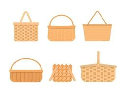 Set of empty wicker picnic baskets isolated on white background. Collection of different hand woven willow baskets and hampers vector