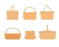 conjunto de cestas de picnic de mimbre vacías aisladas sobre fondo blanco. Colección de diferentes cestas y cestas de sauce tejidas a mano. vector