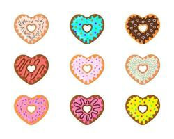 Set of heart shaped donuts isolated on white background. Different sweet doughnuts for Valentines day vector