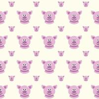 seamless pattern with cute cartoon pigs vector