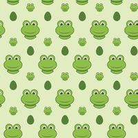 Green frog pattern in vector for kid background