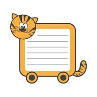 Daily planner with illustration of cute cartoon merry tiger. My day to-do list vector