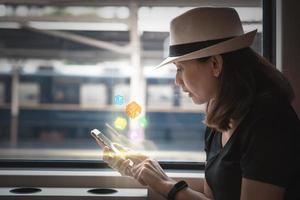 Woman using smartphone on a train photo