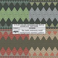 4 Flat Color Indonesian Batik Seamless Pattern vector