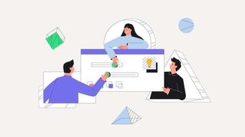 Men and women taking part in business activities, team work. UI UX design concept of creating an application. Design and development business vector concept. Flat style vector illustration.