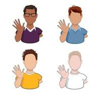 Young men of different races waving hands greeting or saying goodbye isolated on white background. Cartoon male characters with welcoming gesture in vector illustration.