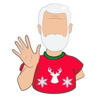 An elderly man waving hand greeting or saying goodbye isolated on white background. Cartoon male character with welcoming gesture in vector illustration.