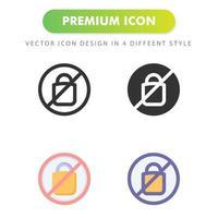 ningún icono de bolsa de plástico aislado sobre fondo blanco. para el diseño de su sitio web, logotipo, aplicación, interfaz de usuario. Ilustración de gráficos vectoriales y trazo editable. eps 10. vector