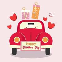 Valentine's Day greeting card with red car, greeting lettering, hearts and gift boxes. vector