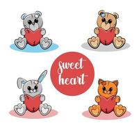 Sweet little animals. Teddy, bunny, kitty with hearts. Vector illustration.