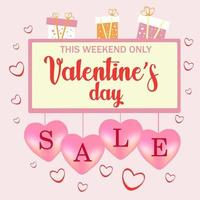 Valentine's Day Sale background with Heart Shaped Balloons. Vector illustration.Wallpaper.flyers, invitations, posters, brochures, banners.
