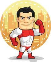 Cartoon of Superhero Vigilante in Spandex Costume Mascot vector