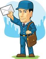 cartero, correo postal, hombre, cartero, caricatura, ilustración vector
