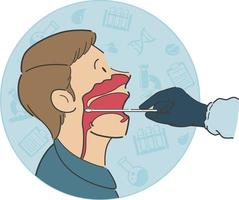 Throat Swab Test Cross Section Side View Anatomy Cartoon Illustration vector