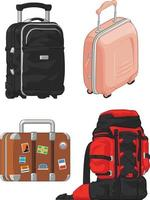 Travel Holiday Suitcase Mountain Backpacker Bag Cartoon Illustration vector