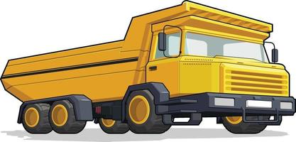 camión de acarreo, construcción, volcado, máquina pesada, industria minera, caricatura vector