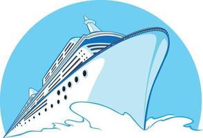Cruise Ship Vacation Yacht Ocean Liner Cartoon Logo Illustration vector