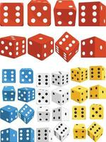 Dice in Several Positions Colors Cartoon Isolated Vector Illustration