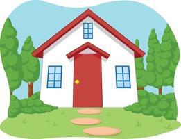 Cute Children House Garden Cartoon Illustration Drawing vector