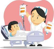 enfermera ayudando a niño enfermo paciente pediátrico hospital dibujos animados vector