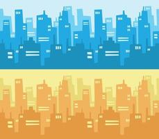 City Skyline Skyscraper Building Flat Design Style Background Cartoon vector