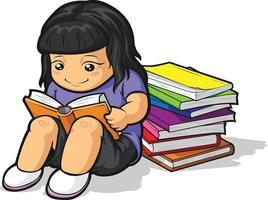 School Girl Student Studying Reading Book Cartoon Illustration vector