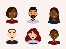 Set of people avatars with different emotions flat vector illustration