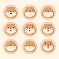 Set of cat emotions stickers cute vector illustration