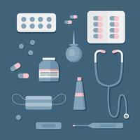 Medicine and health tools first aid kit vector illustration. Includes enema, thermometer, pills, mask. Vector illustration