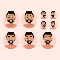 Set of man emotions. Man avatar vector illustration flat style