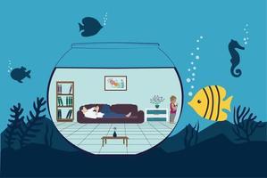 viviendo en una burbuja - concepto submarino vector
