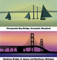 vector set of two famous American bridges. Mackinac Bridge, St Ignace and Mackinaw in Michigan and Chesapeake Bay in Annapolis, Maryland
