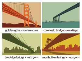 Set of four american cities with bridges. Vintage vector landscapes