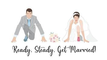Wedding invitation, card, greeting. Groom and Bride getting ready for the marriage. Couple at the start line of a new beginning vector
